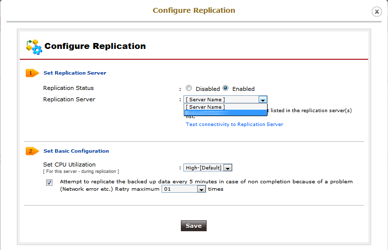 Vembu StoreGrid configure replication